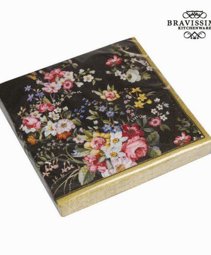 xekios Lot 20 serviettes de table bloom black - Collection Kitchen's Deco by Bravissima Kitchen