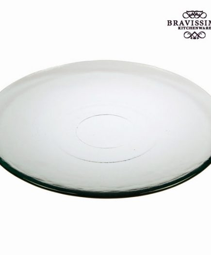 xekios Assiette Plate en Verre Recyclé Lisse Transparent - Collection Pure Crystal Kitchen by Bravissima Kitchen
