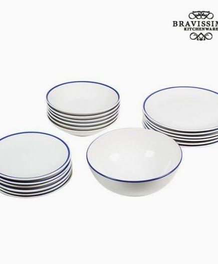 xekios Assietes Vaisselle Blanc Blue marine (19 pcs) - Collection Kitchen's Deco by Bravissima Kitchen