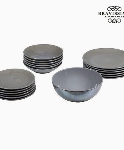 xekios Assietes (19 pcs) Vaisselle Gris - Collection Kitchen's Deco by Bravissima Kitchen