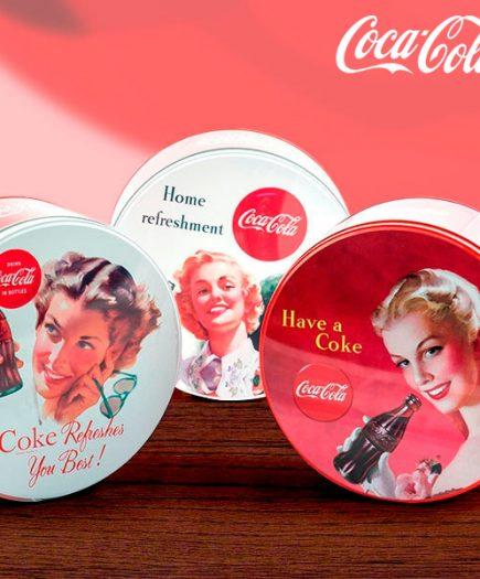 xekios Boîte vintage ronde et en métal Coca-Cola