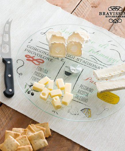 xekios Plateau Giratoire en Verre avec Couteau à Fromage Bravissima Kitchen