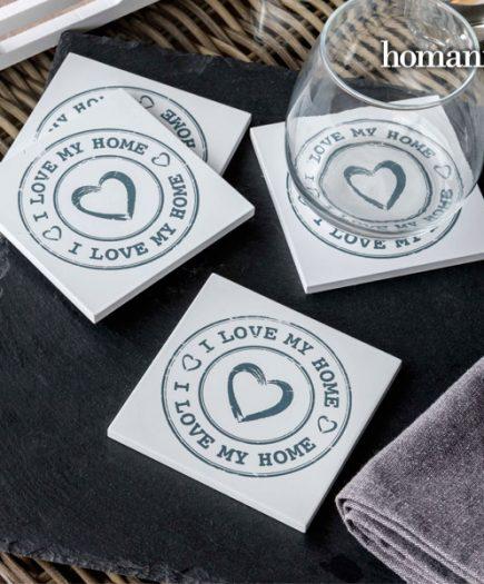xekios Dessous de verre I Love My Home by Homania (lot de 4)