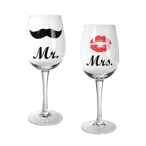 xekios Verres à Vin Mr & Mrs