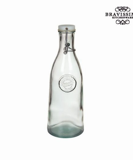 xekios Bouteille en Verre Recyclé avec Bouchon Transparent - Collection Pure Crystal Kitchen by Bravissima Kitchen