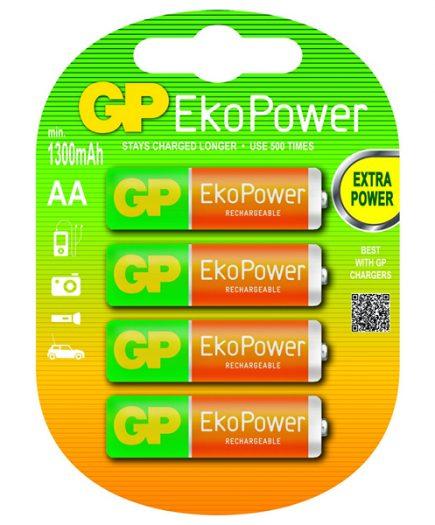 xekios Piles Rechargeables GP 125AAHCEPC4 1, 2 V 1300 mAh AA (4 pcs) Vert Orange