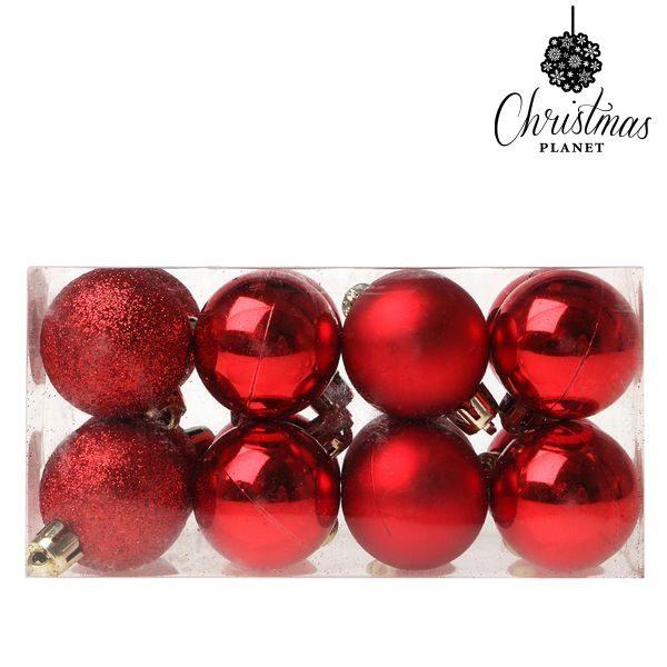 xekios Boules de Noël Christmas Planet 5313 4 cm (16 uds) Plastique Rouge