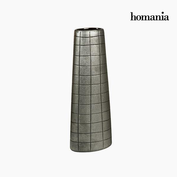 xekios Vase Céramique Argent (17 x 9 x 44 cm) by Homania