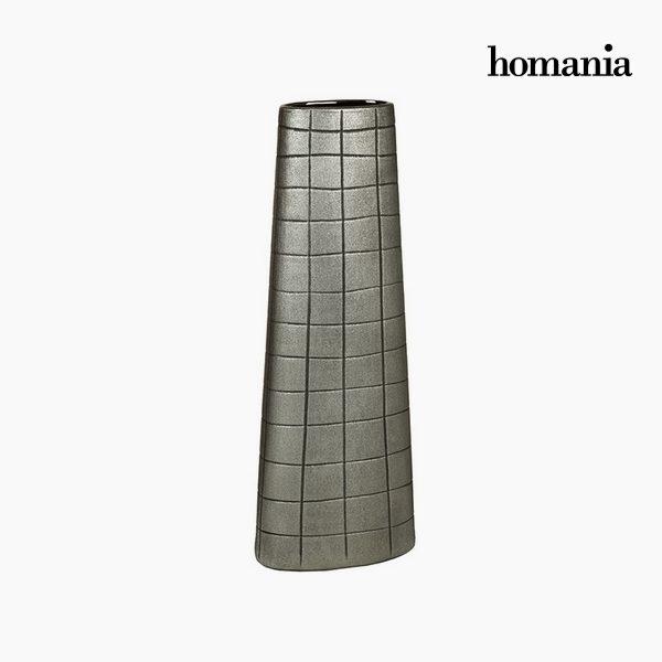xekios Vase Céramique Argent (19 x 10 x 51 cm) by Homania