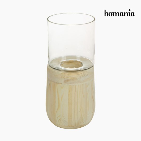 xekios Bougeoir Verre Bois - Collection Pure Crystal Deco by Homania