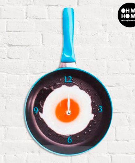 xekios Horloge Murale en Verre Poêle avec Oeuf au Plat