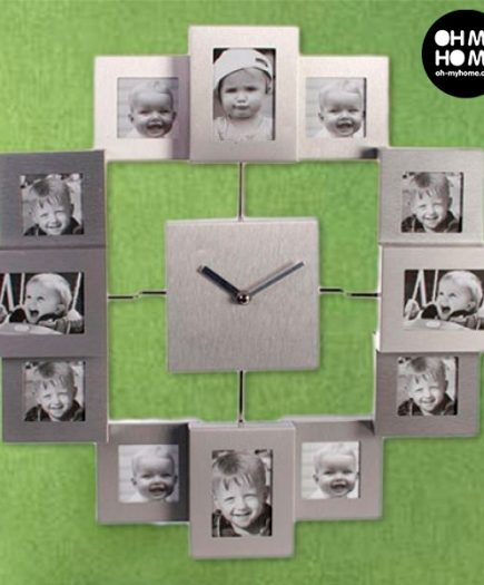 xekios Horloge Murale Tout Aluminium avec 12 Cadres à Photo