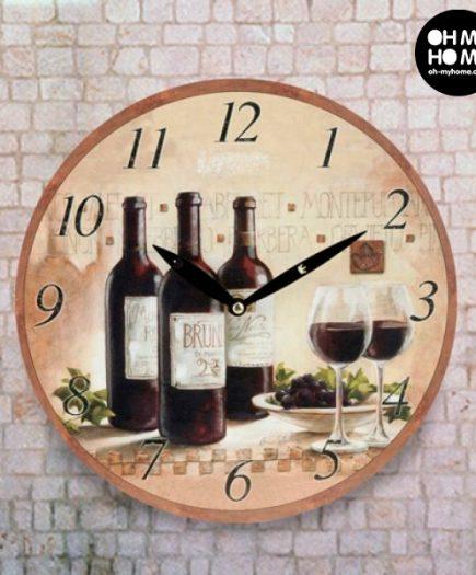 xekios Horloge Murale Autour du Vin