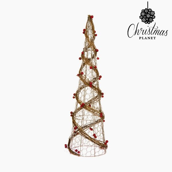 xekios Sapin de Noël Tissu en fil métallique Rotin Naturel Champagne (16 x 16 x 60 cm) by Christmas Planet