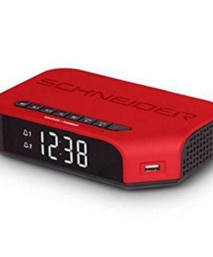 xekios Radio-réveil SCHNEIDER VIVA SC310ACLRED AM/FM USB Rouge