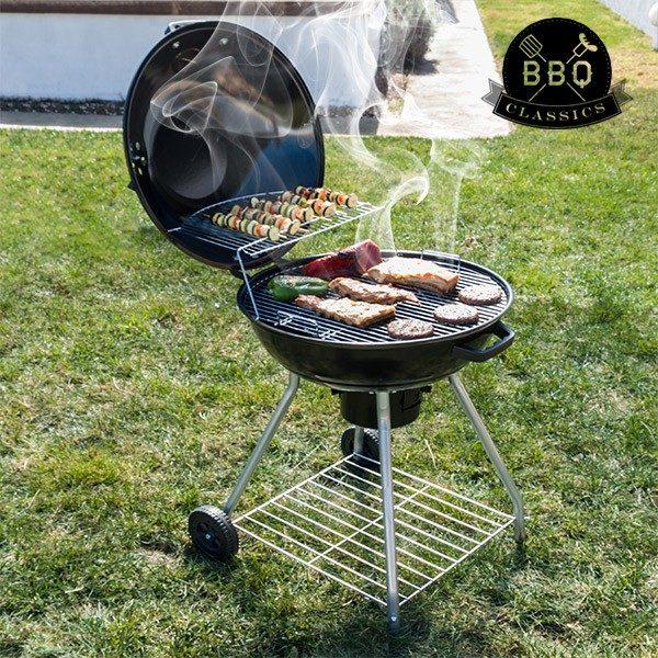 xekios Barbecue à Charbon avec Couvercle et Roulettes Black BBQ Classics