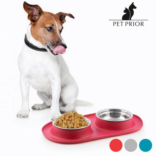 xekios Mangeoire-Abreuvoir Antidérapant pour Animaux Pet Prior
