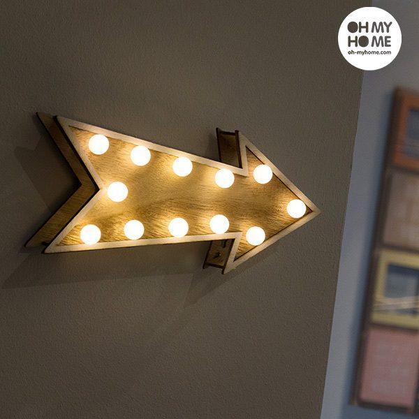 xekios Flèche Décorative en Bois Oh My Home (12 LED)